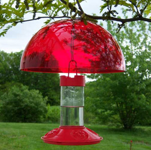 Red Hummer Helmet for Hummingbird Feeders