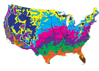 Map of average last spring frost date